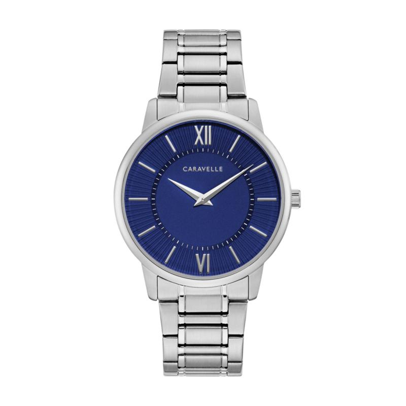 Caravelle by Bulova Men's Stainless Steel Blue Dial Watch