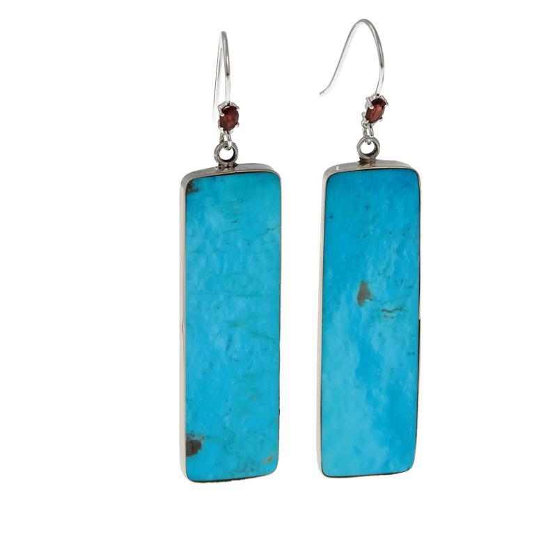 Chaco Canyon Kingman Turquoise and Garnet Silver Dangle Earrings