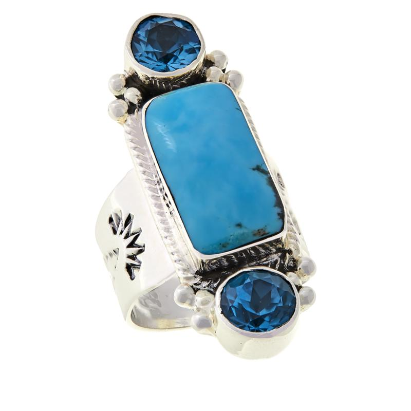 Chaco Canyon Kingman Turquoise and Swiss Blue Topaz Elongated Ring