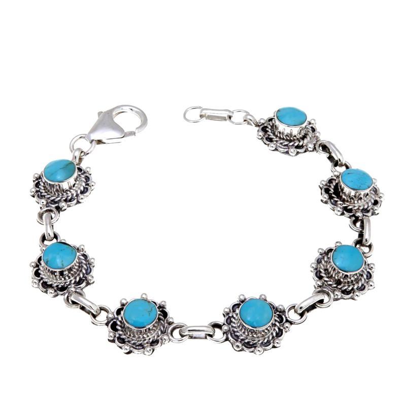 Chaco Canyon Round Kingman Turquoise Line Bracelet
