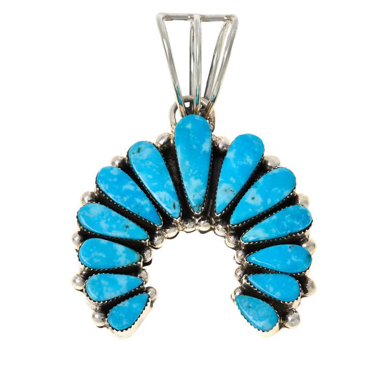 Chaco Canyon Sterling Silver Kingman Turquoise Naja Pendant