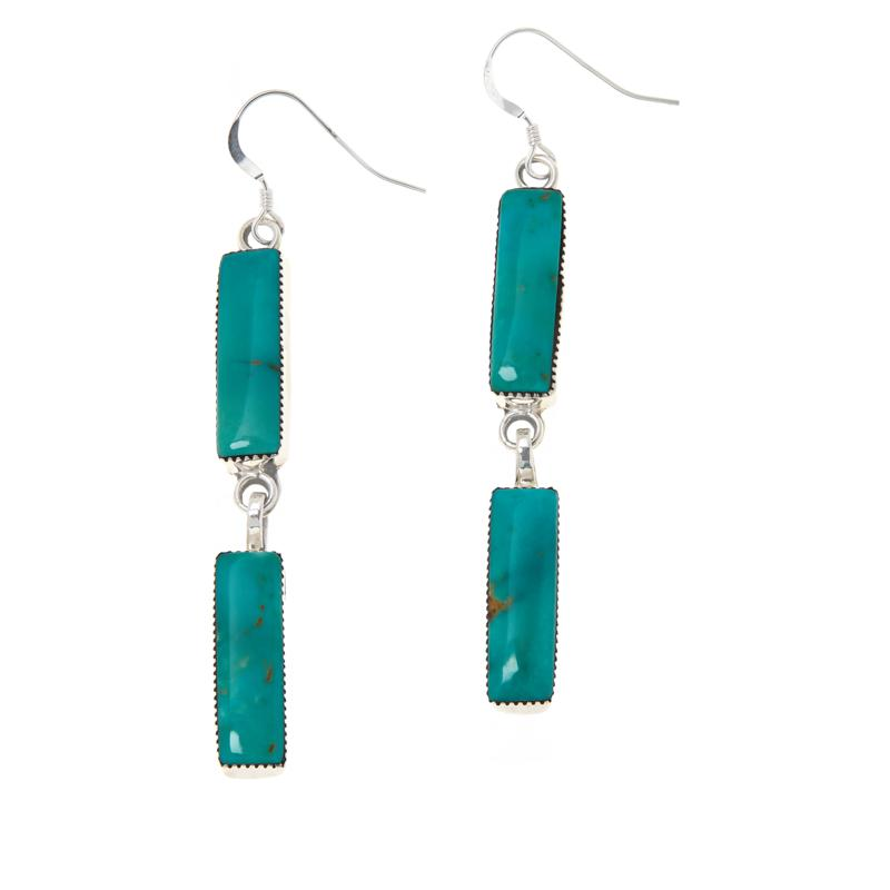 Chaco Canyon Sterling Silver Rectangle Gem Drop Earrings