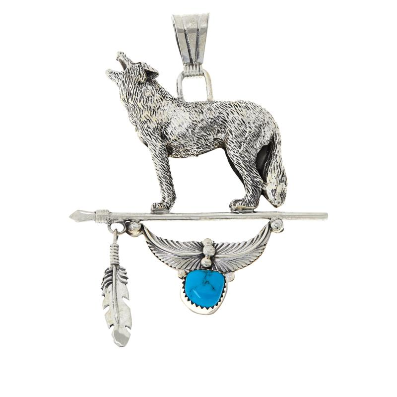 Chaco Canyon Sterling Silver Sleeping Beauty Turquoise Wolf Pendant