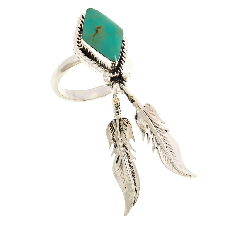 Chaco Canyon Sterling Silver Turquoise Feather Dangle Ring