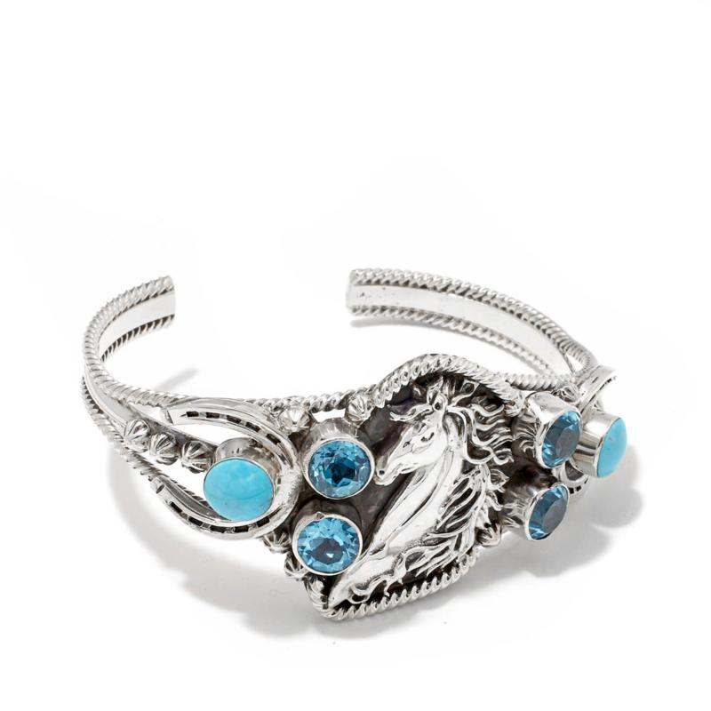 """Chaco Canyon Turquoise and Blue Topaz """"Horse"""" Sterling Silver Cuff"""