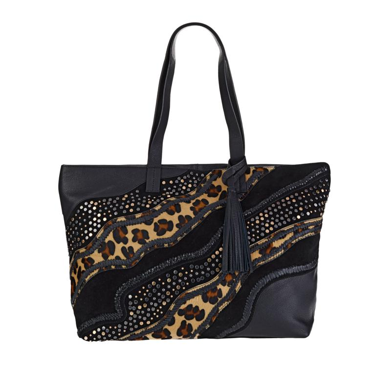 Clever Carriage Jungle Collage Leather Shopper