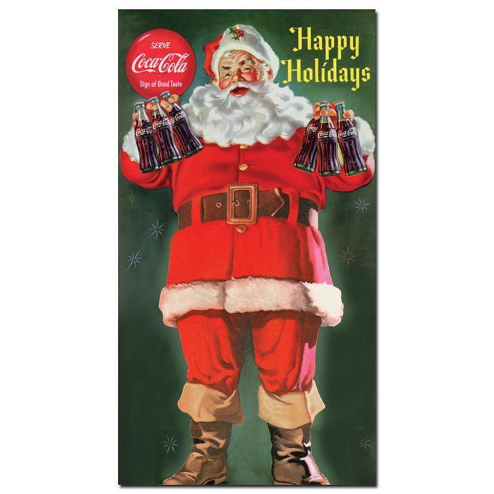 "Coca-Cola ""Santa with Six Pack of Cola"" Canvas Art"