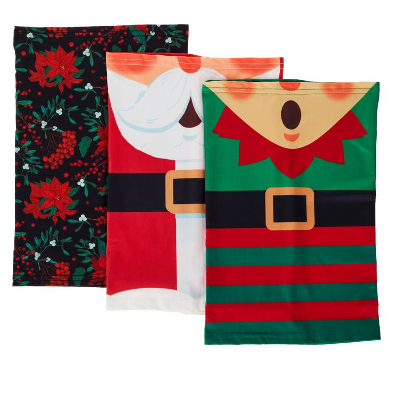 Collection 18 3-pack Reusuable Holiday Cowl Face Coverings