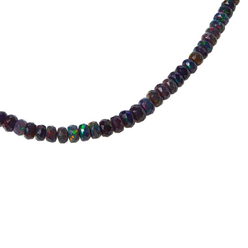 "Colleen Lopez 18"" Ethiopian Black Opal Necklace w/Black Diamond Clasp"
