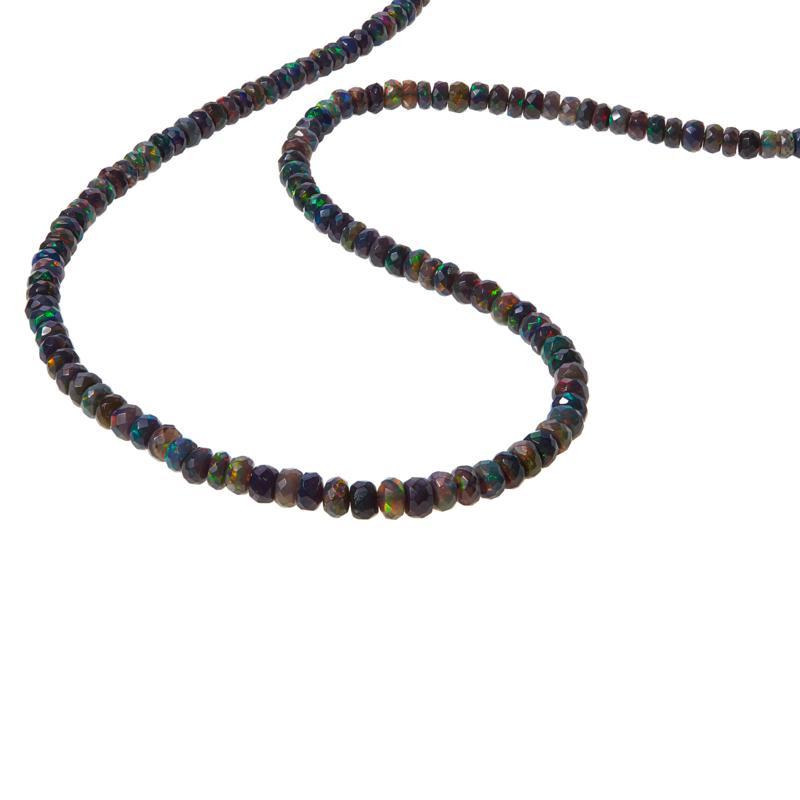 "Colleen Lopez 36"" Ethiopian Black Opal Necklace w/Black Diamond Clasp"