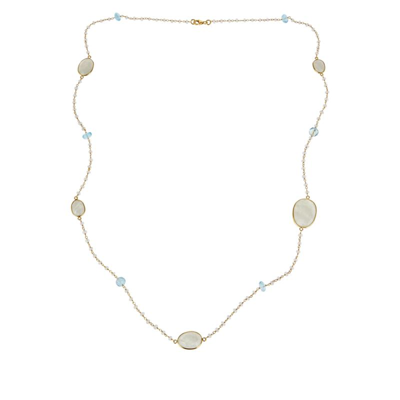 """Colleen Lopez 36"""" Rainbow Moonstone and Blue Topaz Beaded Necklace"""