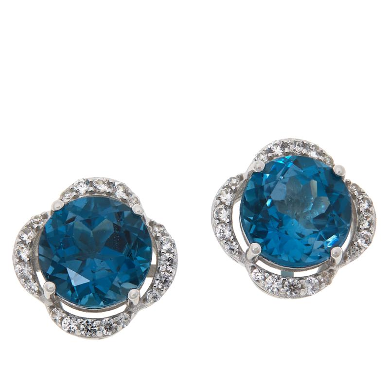 Colleen Lopez Blue Topaz and White Zircon Clover Stud Earrings