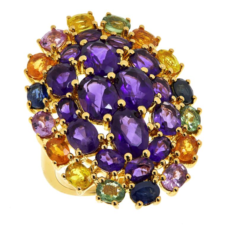 Colleen Lopez Gold-Plated Amethyst and Multi-Color Sapphire Ring