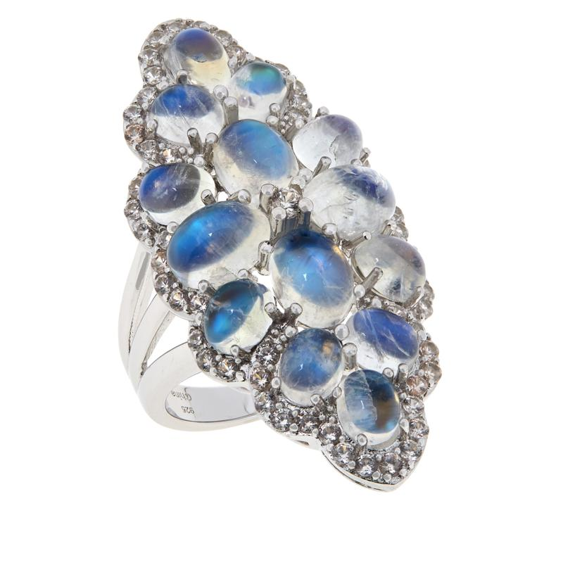 Colleen Lopez Moonstone and White Zircon Statement Ring