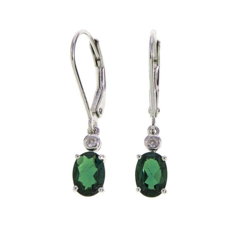 Colleen Lopez Oval Gemstone and White Zircon Drop Earrings