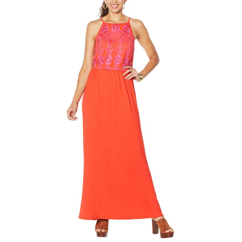 Colleen Lopez Sleeveless Front Embroidered Maxi Dress