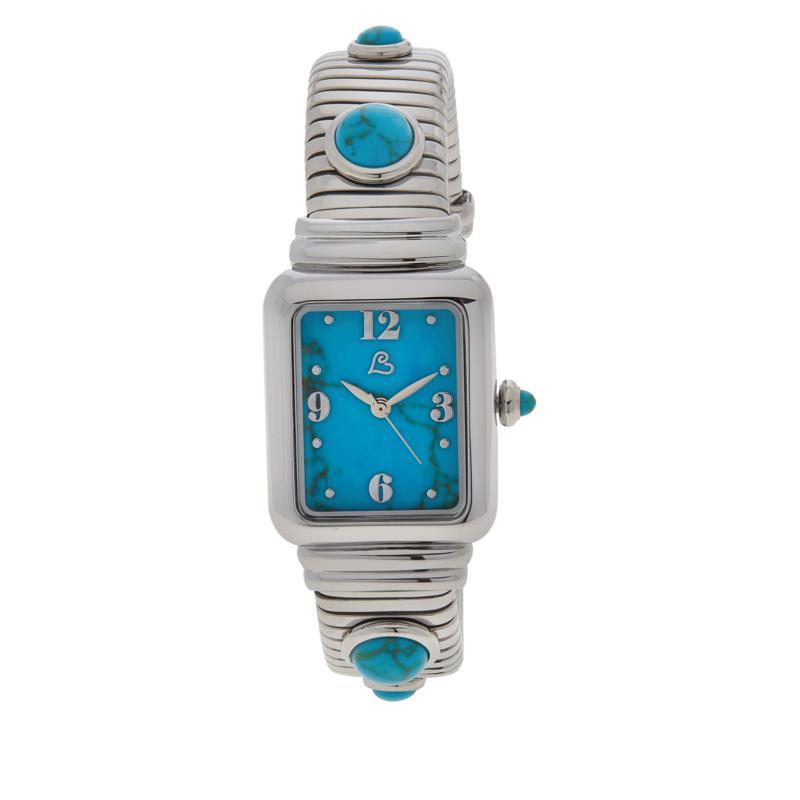Colleen Lopez Stainless Steel Gemstone Dial Cuff Watch