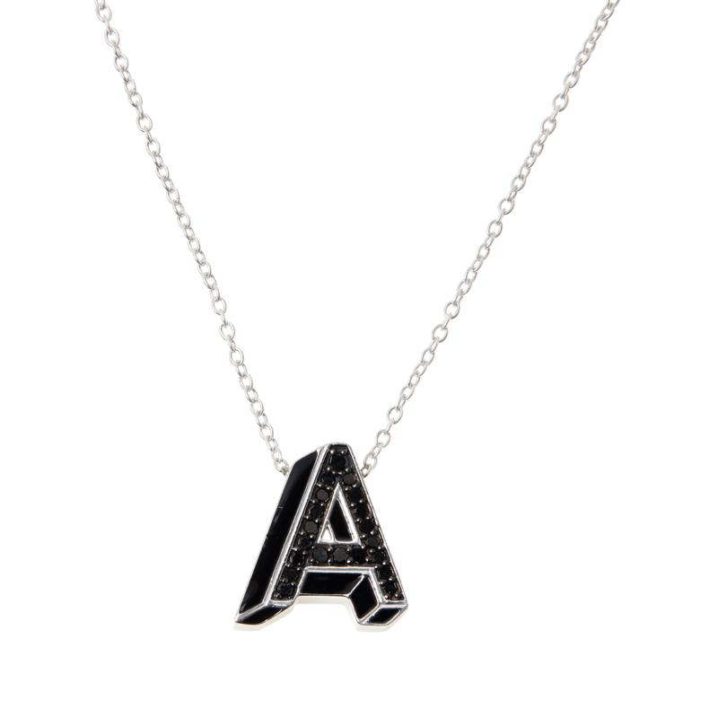 Colleen Lopez Sterling Silver Black Diamond Initial Pendant with Chain