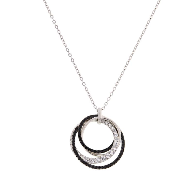 Colleen Lopez Sterling Silver Black Spinel and White Zircon Necklace