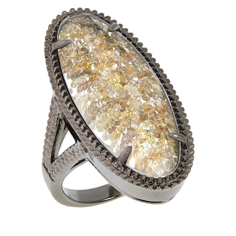 Colleen Lopez Sterling Silver Fancy Diamond Shaker Ring