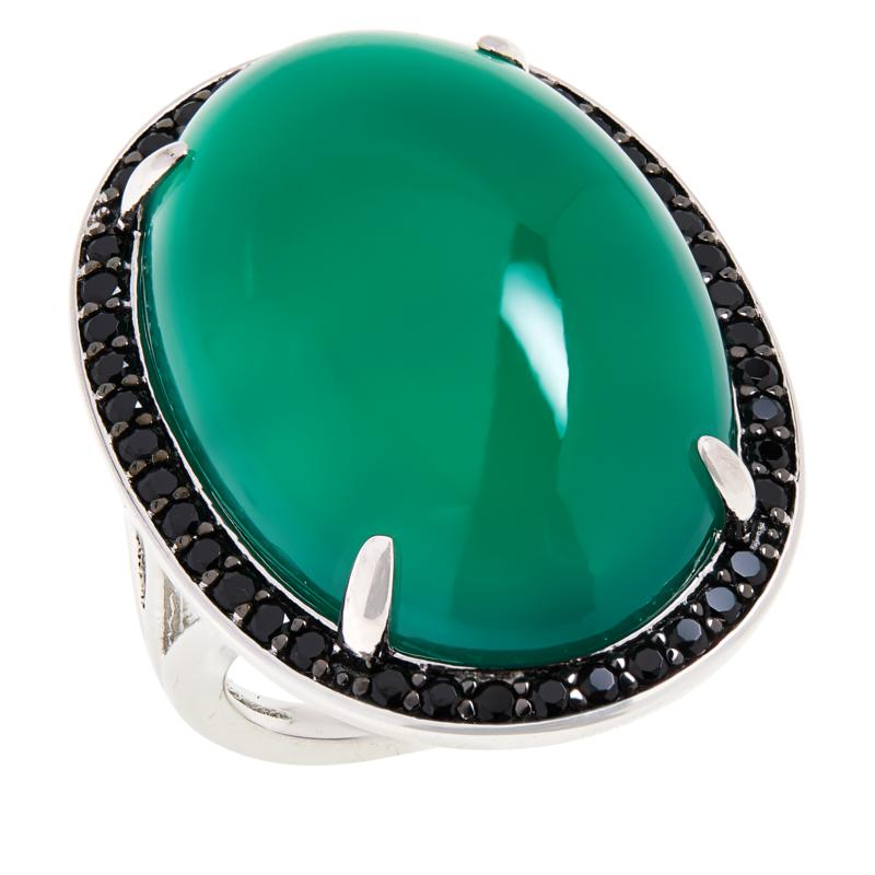 Colleen Lopez Sterling Silver Gemstone and Black Spinel Ring