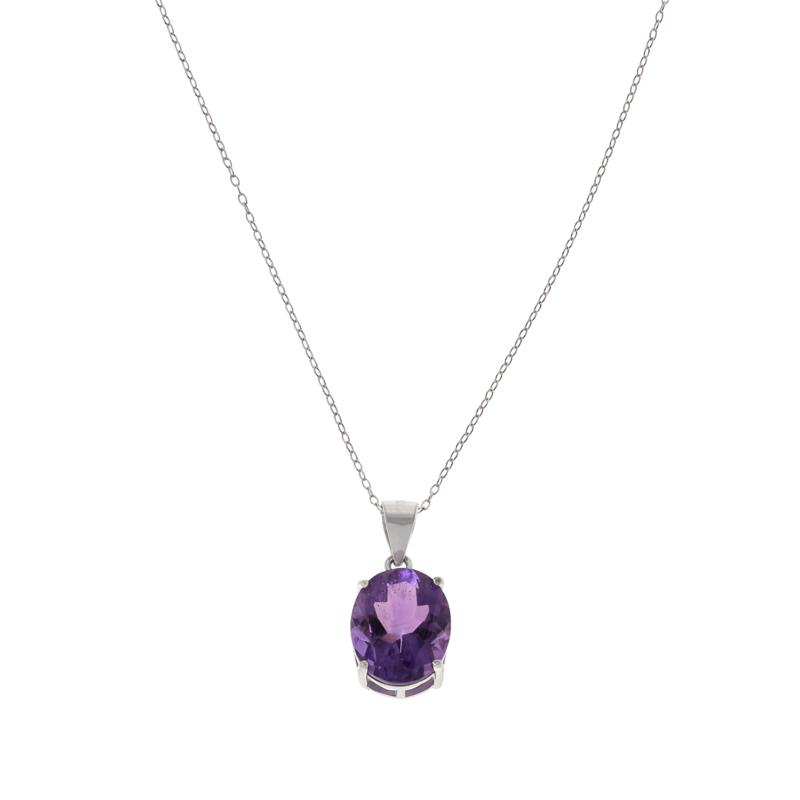 Colleen Lopez Sterling Silver Gemstone Solitaire Pendant with Chain