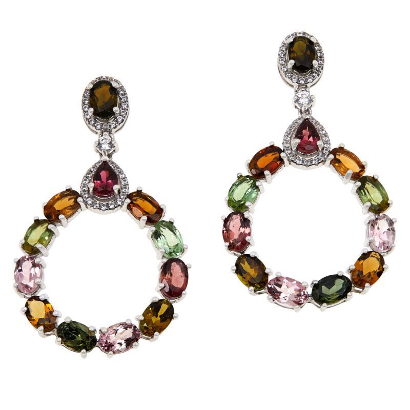 Colleen Lopez Sterling Silver Multi-Color Tourmaline Drop Earrings