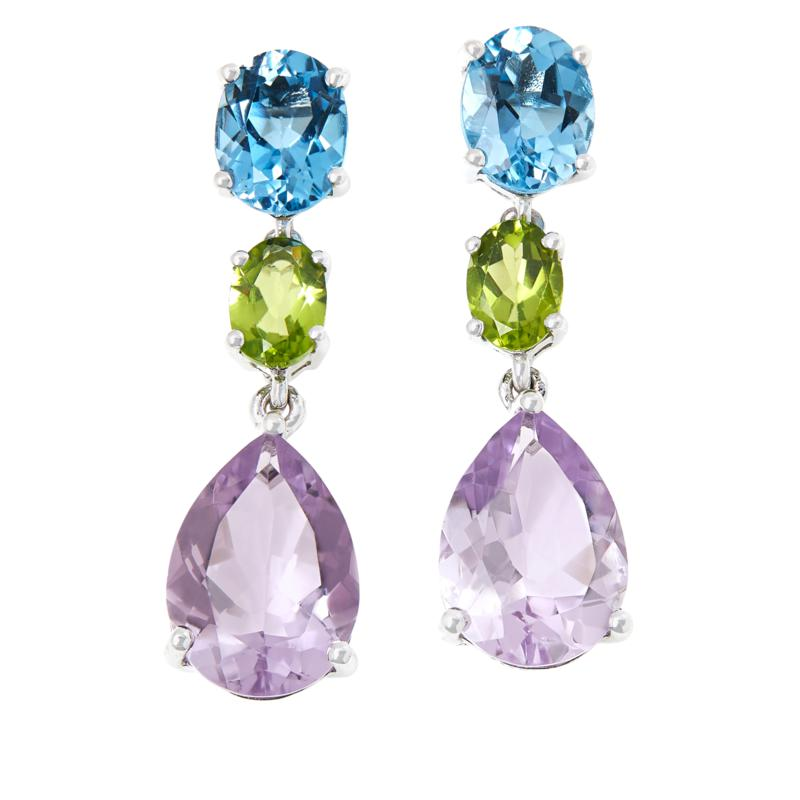 Colleen Lopez Sterling Silver Multigem 3-Stone Drop Earrings