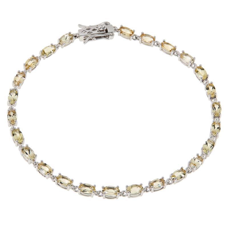Colleen Lopez Sterling Silver Oval Gemstone Tennis Bracelet