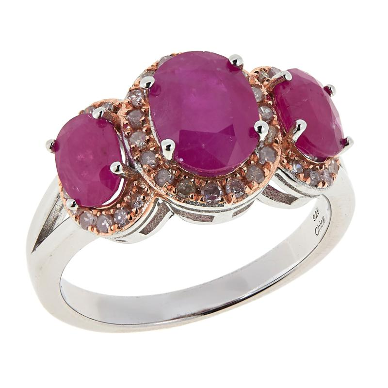 Colleen Lopez Sterling Silver Ruby and Pink Diamond Ring