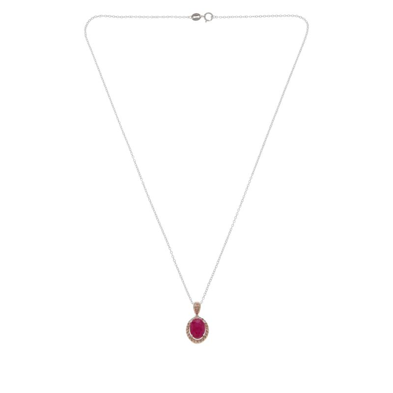 Colleen Lopez Two-Tone Ruby and Pink Diamond Pendant with Chain