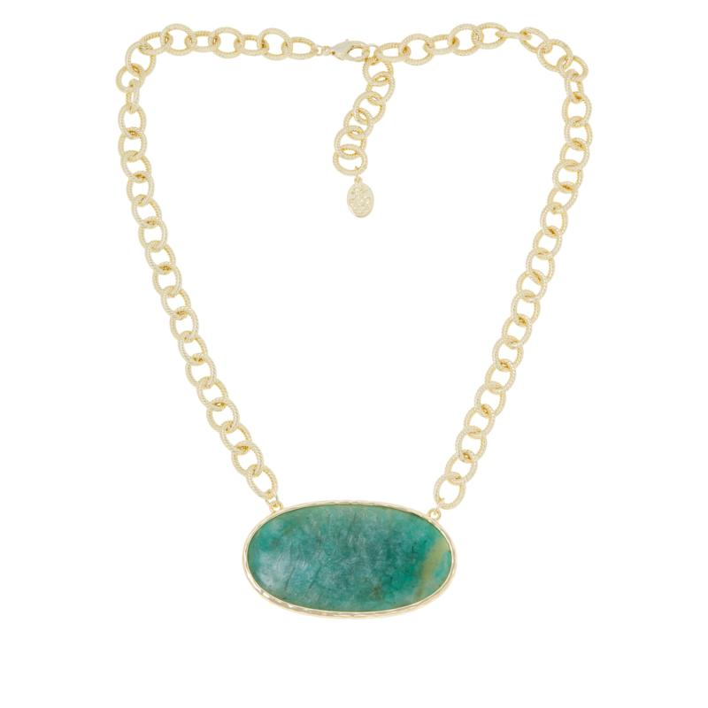 "Connie Craig Carroll Jewelry Kate 19-3/4"" Oval Gemstone Drop Necklace"