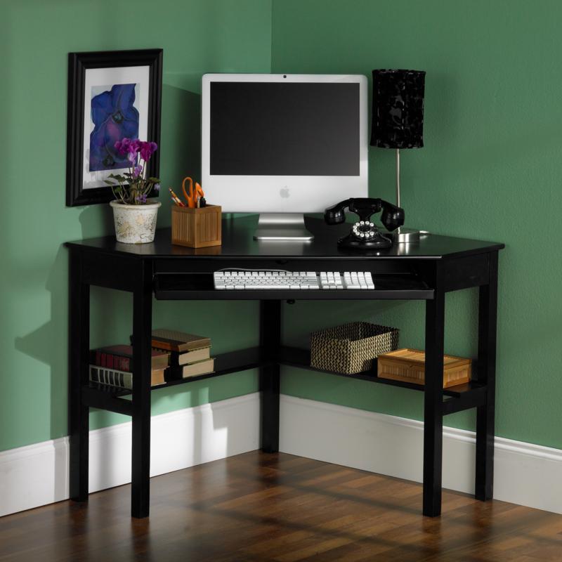 Corner Computer Desk Black Finish, Corner Desk Black