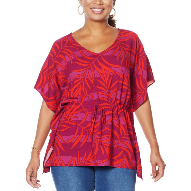 Curations Printed Woven Caftan Top