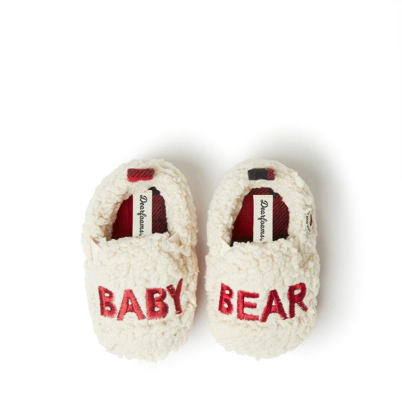 Dearfoams Buffalo Check Baby Bear Closed Back Slipper
