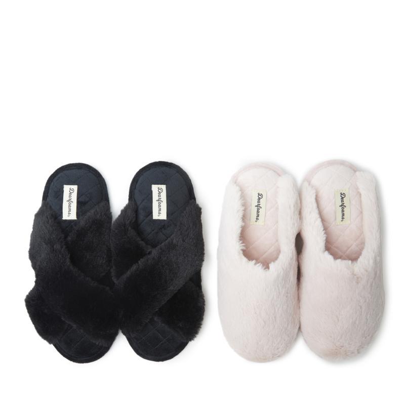Dearfoams Womens Furry Bundle - Jessica Crossband & Bailey Scuff