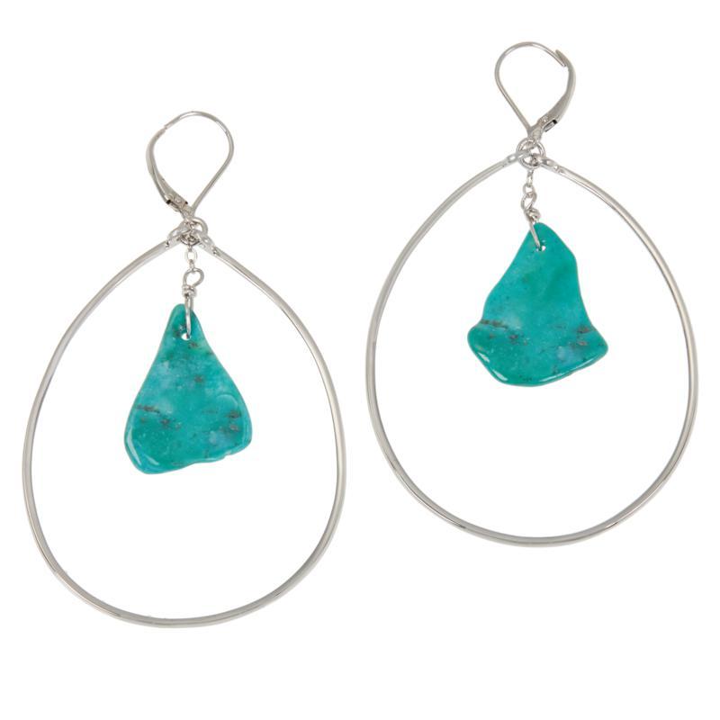 Deb Guyot Studio Sterling Silver Turquoise Slice Drop Earrings