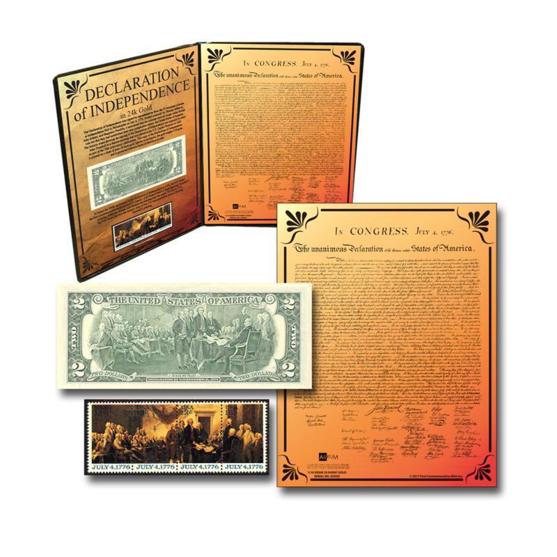 Declaration of Independence 24K Aurum, Stamps & $2 Bill