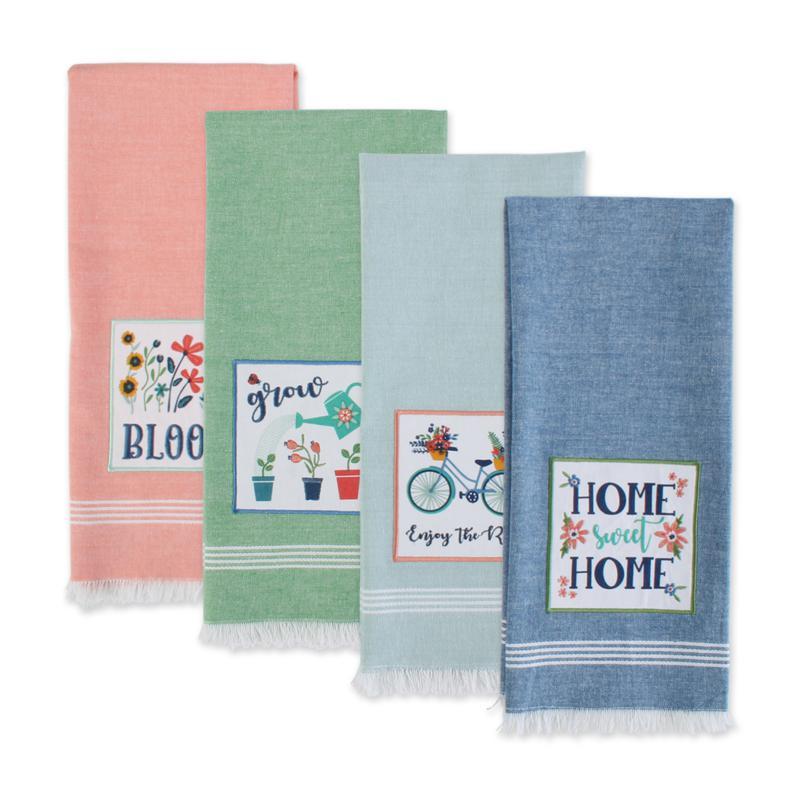 Design Imports Bloom Garden Embellished Kitchen Towel 4-pack