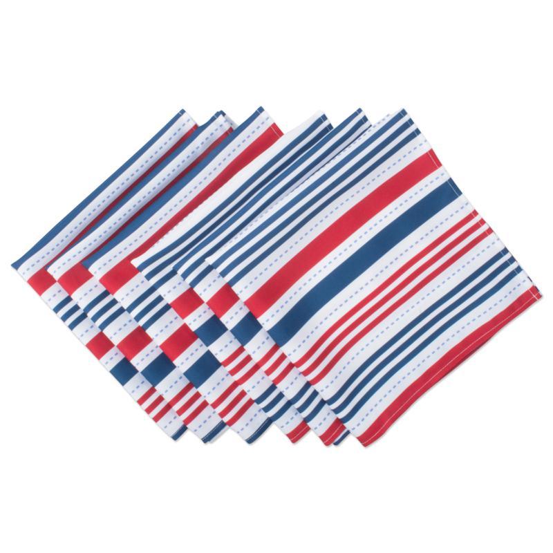 Design Imports Patriotic Stripe Outdoor Napkin Set of 6