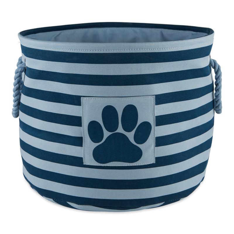 Design Imports Polyester Rectangle Stripe Paw Patch Pet Bin Medium