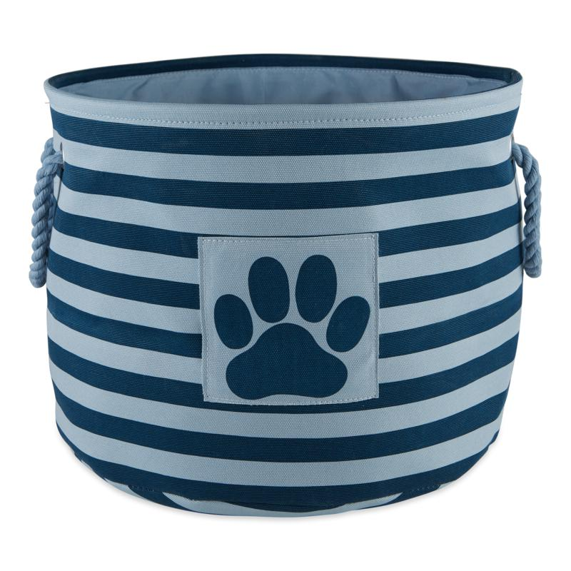 Design Imports Polyester Round Stripe Paw Patch Pet Bin Small