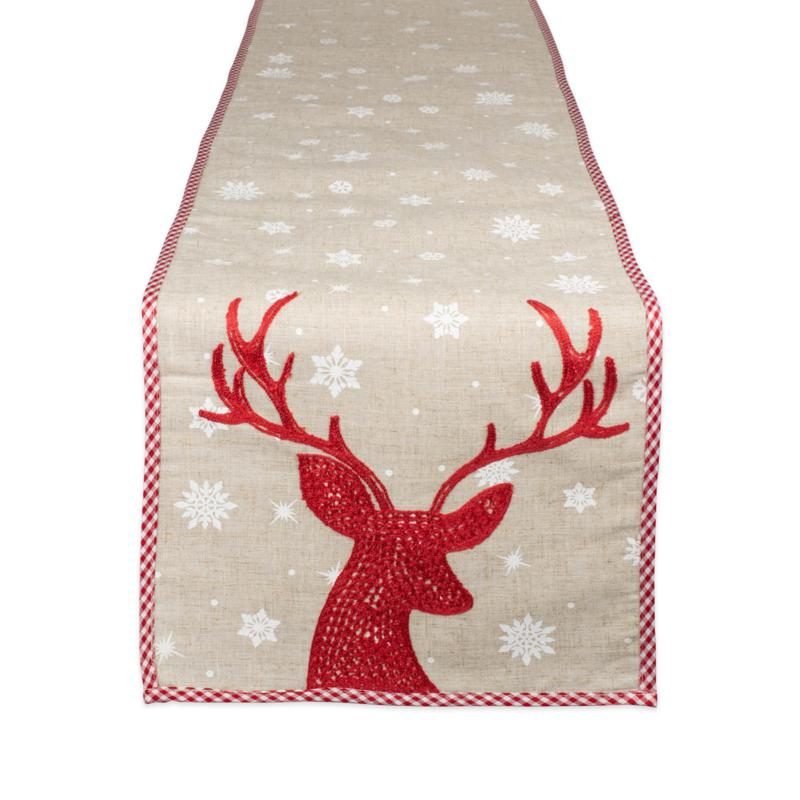 Design Imports Red Reindeer Embroidered Table Runner 14-inch x 70-inch