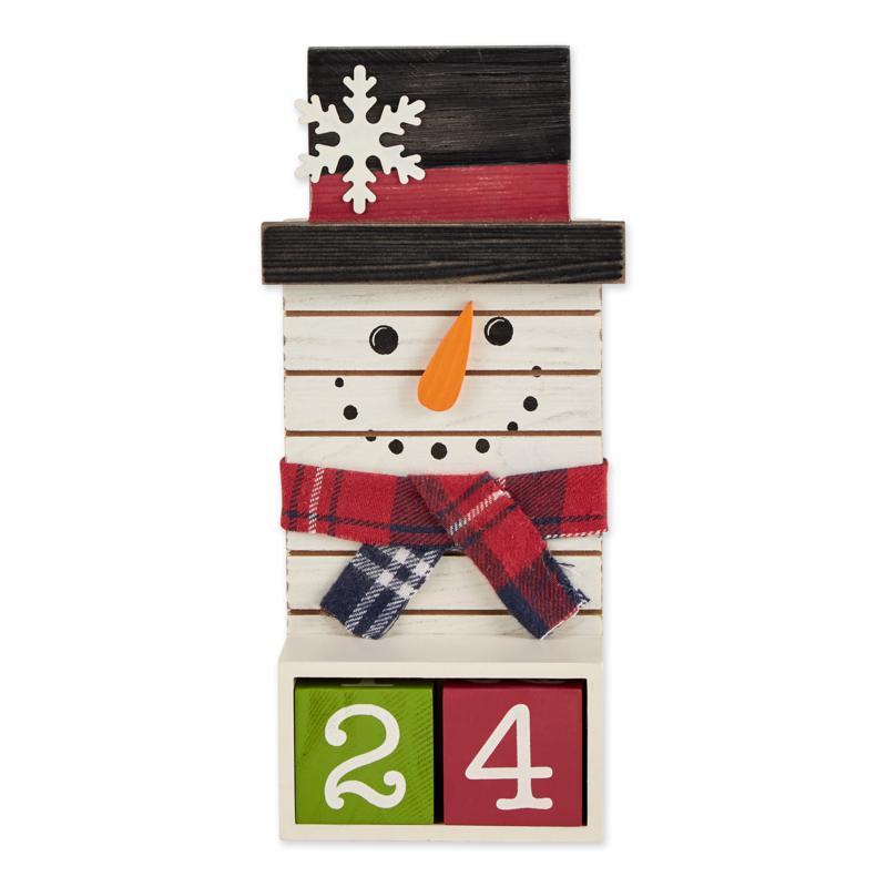 Design Imports Square Snowman Tabletop Block Calendar