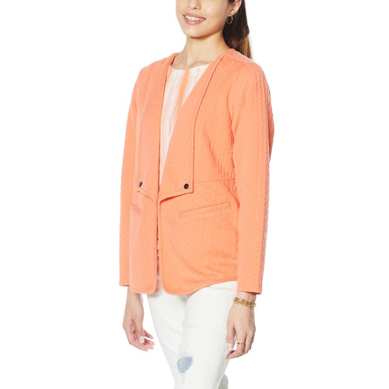 DG2 by Diane Gilman Cable Knit French Terry Knit Easy Jacket