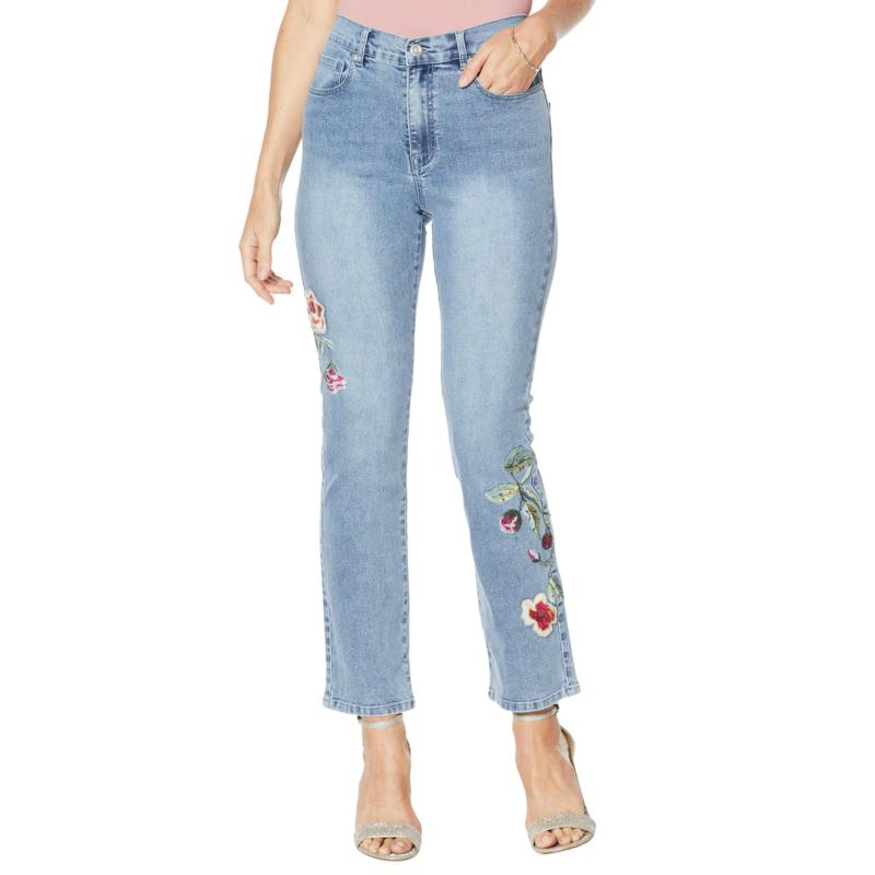 DG2 by Diane Gilman Classic Stretch Embroidered Straight-Leg Jean