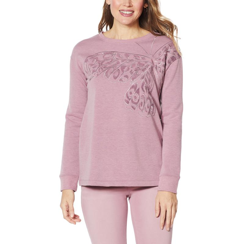 """DG2 by Diane Gilman """"DG Downtime"""" Butterfly Embroidered Sweatshirt"""