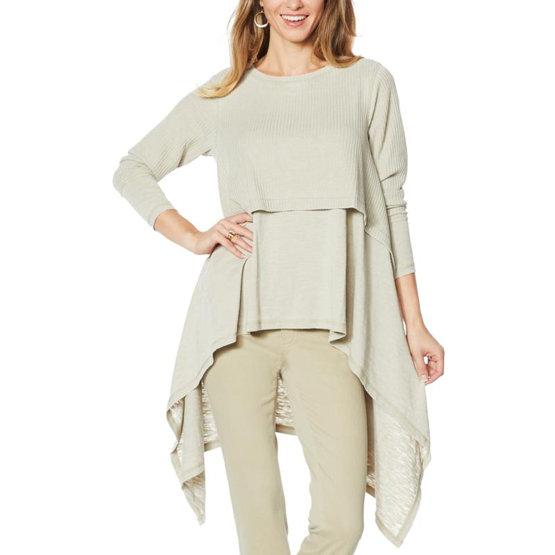 DG2 by Diane Gilman Drama Waffle Knit Double Layer Top