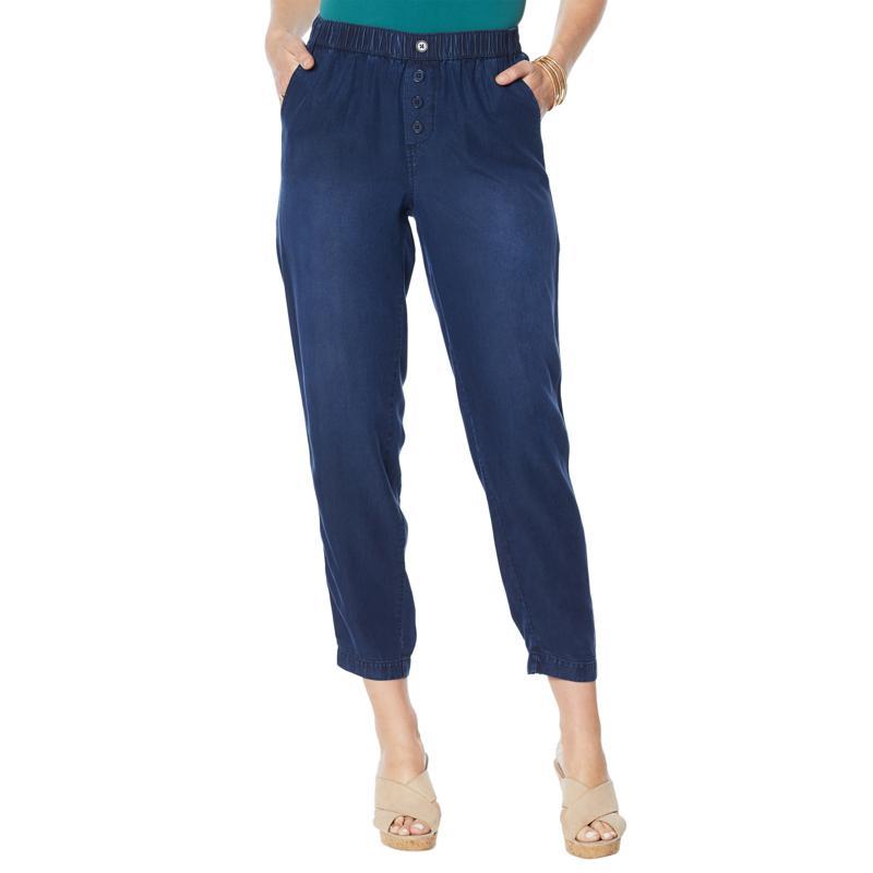 DG2 by Diane Gilman Elastic Waist Cropped Soft Pant