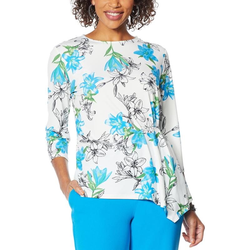 DG2 by Diane Gilman Liquid Jersey Printed Pleat Side Top